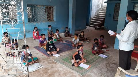 Students studying at a tribal school in her village in Nayagarh district of Odisha.