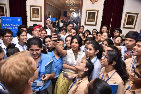 UNICEF India Goodwill Ambassador, Priyanka Chopra, interacted with 100 young adolescents from top schools in the country, to highlight the importance of giving each child a #FairStart.
