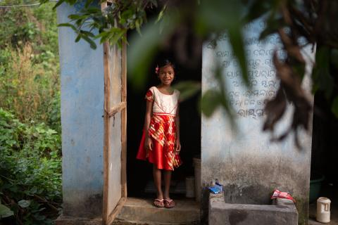 Sonalika Dalabehera, six years old, a resident of Sutarajpur village, has from an early age been taught to adopt the hygienic routine of using a toilet rather than an unhealthy habit of using fields.