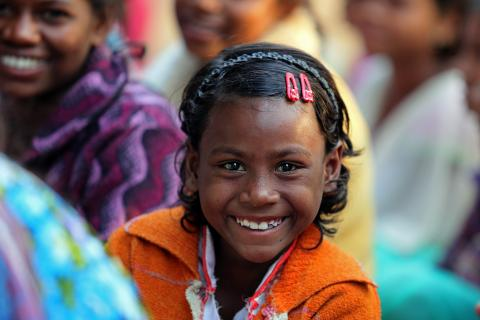This girl child of Baghudih village of Purulia, West Bengal, India, is a beneficiary of SBCC programme supported by UNICEF.