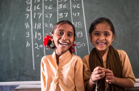 7 year old Laxmi (left) with her best friend and classmate Swapna (right), at Government Secondary School in Chitri Block, Dungarpur District, Rajhastan. They love coming to school as they get to spend time with one another.