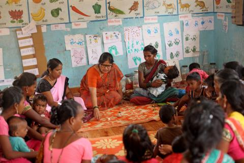 Anganwadi supervisor Pranali Sathwi at the mother's meeting.
