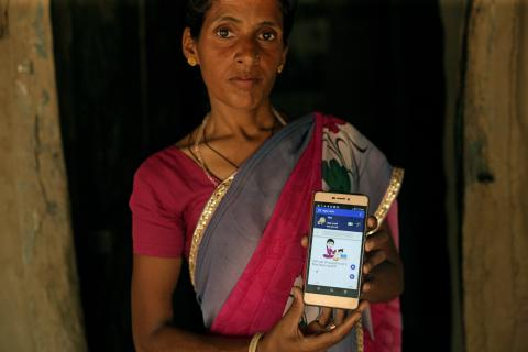 Shanta Meena is equipped with a Smart phone to record the data for ICT – Real time monitoring to achieve the target set under the Poshan Abhiyaan.