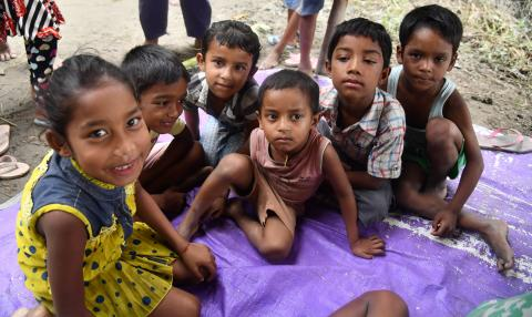 Flood affected children of Auniati Notun Samoguri village, Majuli.