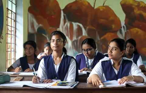 16-year old Moumita Roy attends class with her classmates, Parbatpur Vidyapith, Domjur, Howrah, West Bengal, India