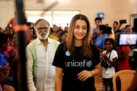 UNICEF India celebrity advocate Trisha Krishnan at ¬AIR site TNSCB Community Hall in Ennore, Chennai.
