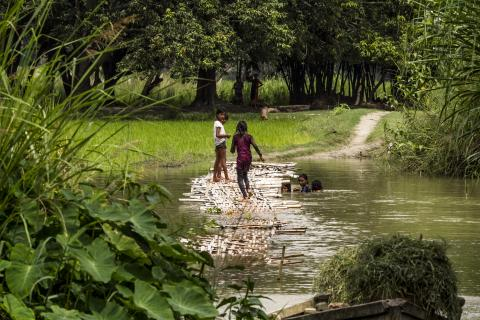 Children play in Gehua river, Madhubani, one of the worst flood-affected districts in Bihar Province.