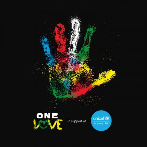 A hand painted different colours with One Love and UNICEF logos