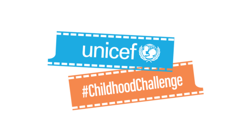UNICEF logo and the hashtag Childhood Challenge on a film strip