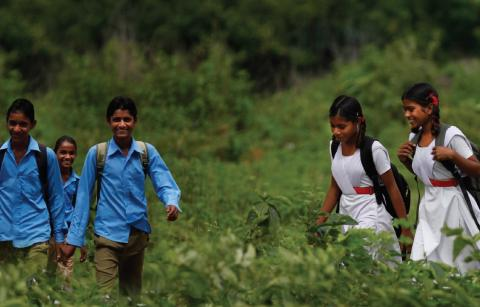 Children going to school.