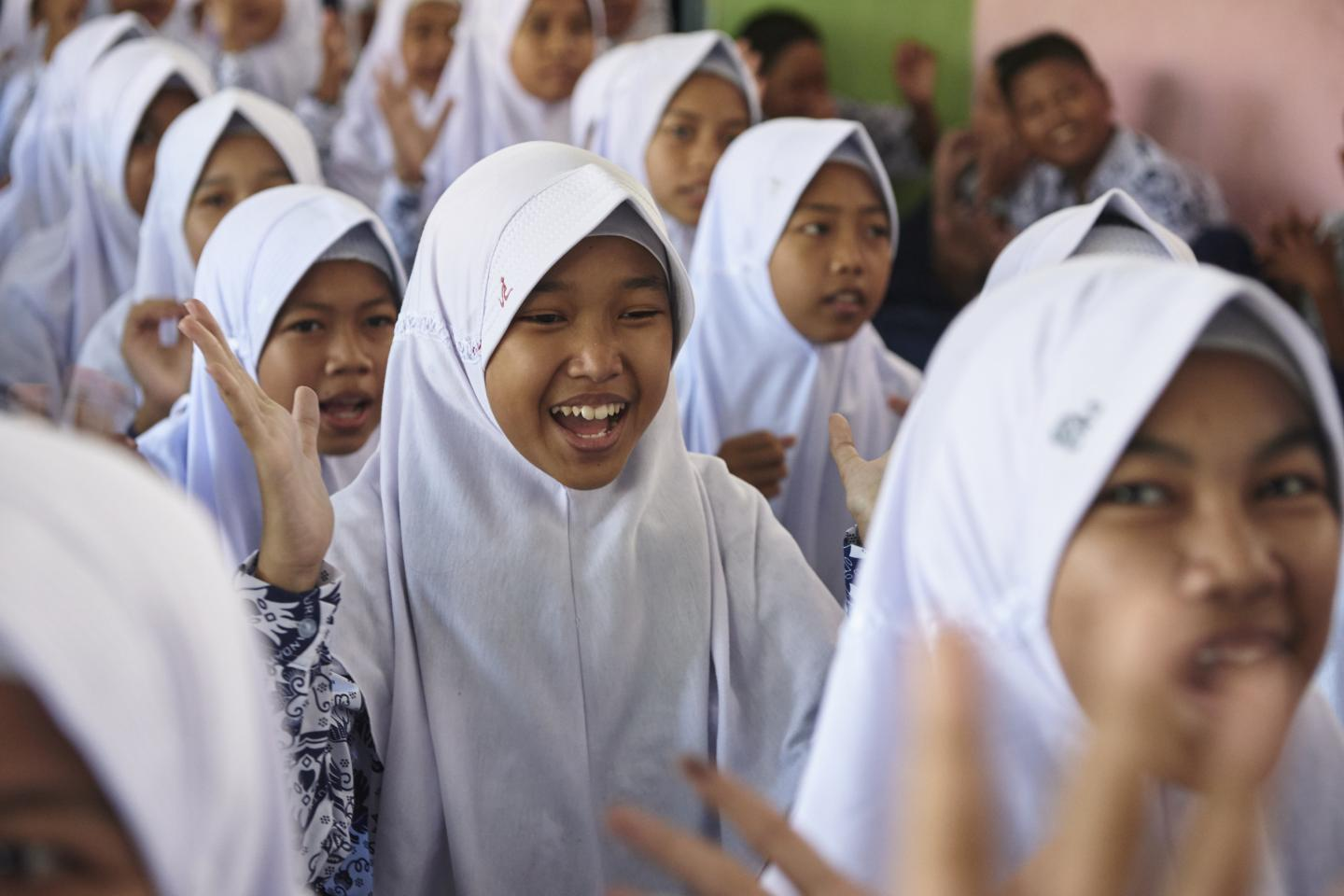 Girls take part in an anti-bullying programme at school in Sulawesi, Indonesia