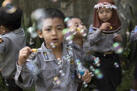 Children playing at an ECD Centre in Bogor, West Java