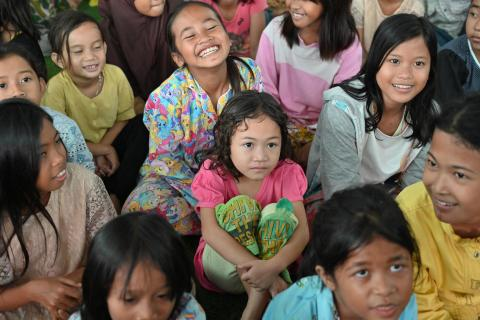 Children affected by the December 22 tsunami, take part in a trauma healing programme