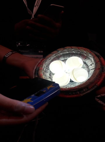 A Model LED Light constructed from the LED Safari Kit, Made of ping-pong balls and a straw bowl
