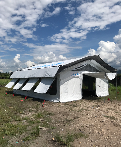 The new High-Performance Tent developed by UNICEF and the private sector, created to withstand harsh condition while meeting children's needs.