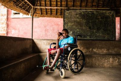 Boy sits in a wheelchair at a Transition and Orientation Center in the Democratic Republic of Congo