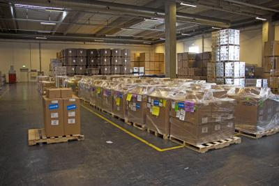Supplies in boxes at the Supply Division warehouse in Copenhagen
