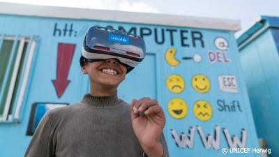 boy wearing vr headset