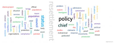Figure: Word Cloud of top most frequent words co-occuring after the word 'refugee'