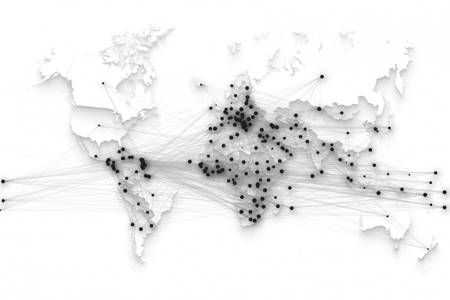 Map of data plotted in the a global map