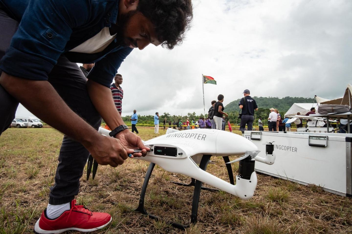 Wingcopter technician of Germany assembling drone at the launch of the Vanuatu Drone trials for vaccine delivery event on Efate island, Vanuatu.