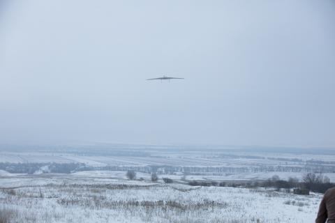 Drones flyies up in Kazakhstan sky during winter