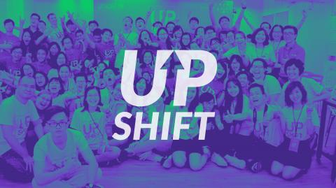 Upshift logo with Upshifters in the background