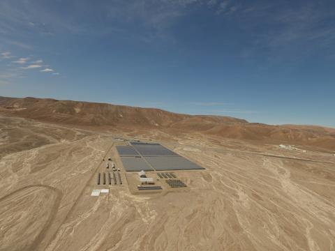 Solar panels in the middle of the desert