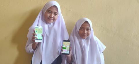 User testing Oky with girls in Indonesia.