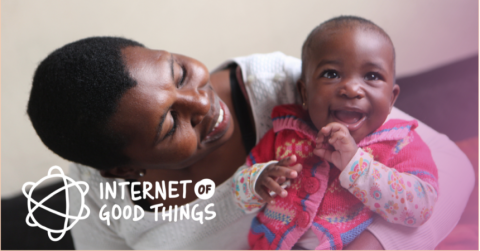 Internet of Good Things Promo banner: mother looks to a child