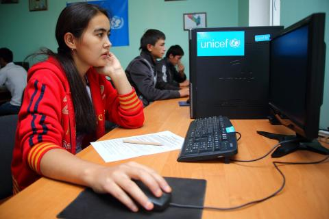 Youth learning digital literacy on computer classes in the South of Kyrgyzstan