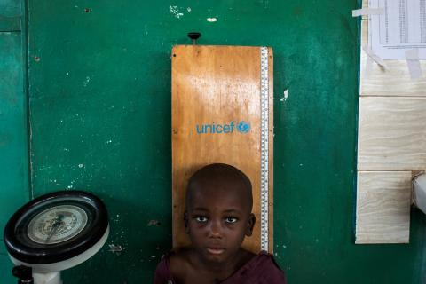 A young boy get his height measured in a UNICEF supported child clinic in Nganza, Kananga.