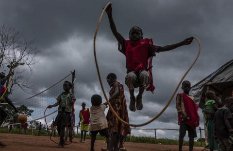 Internally displaced children at a UNICEF child friendly space at Sangaris camp in Bambari, Central African Republic
