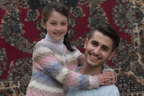 Majd 21 years old from Damascus in Syria with his 8year old cousin Maria aged 8