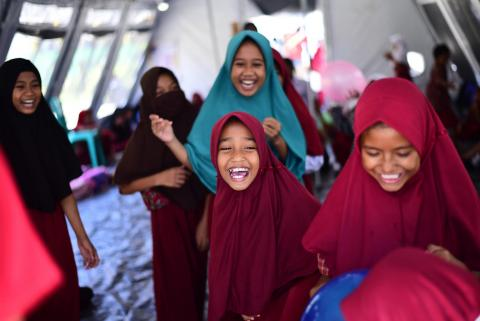 In Talise village, Palu, Indonesia, elementary school students take part in a trauma healing program