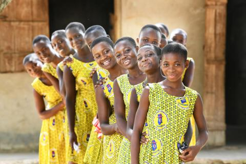 Girls at the Asuokaw Methodist School in the Eastern Region in Ghana.