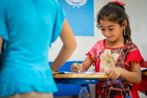 Children attend Learning Support Services in UNICEF's child-friendly Makani centres in Za'atari Refugee Camp. Their centre is called 'Jupiter'.