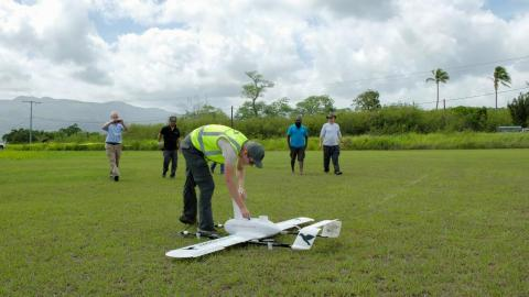 Swoop Aero Drone successfully completing its first scored flight as part of the Vanuatu Vaccine delivery by drone trials.