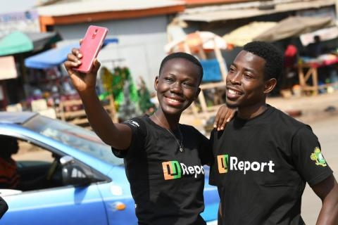 Bouaké U-Reporters.   U-Report is a social platform created by UNICEF, available via WhatsApp, SMS, Facebook and Twitter where young people express their opinion and be positive agent of change in their communities.