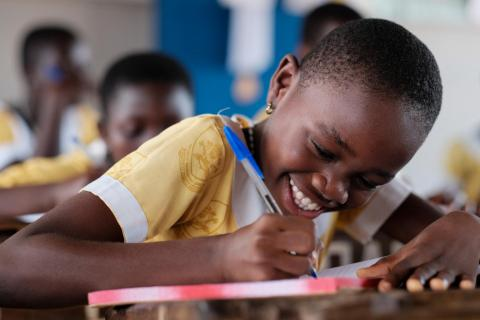 A student in class at Blessed Clementina Roman Catholic School in Ashaiman, Ghana