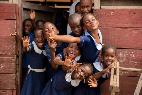 Students of Modern Age Academy posing for a photo in Ashiaman, Greater Accra Region.