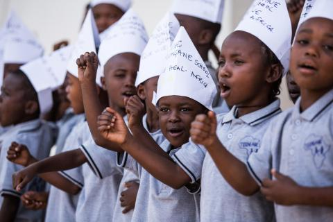 In Goma, Democratic Republic of the Congo, children sing a song at Heal Africa hospital.