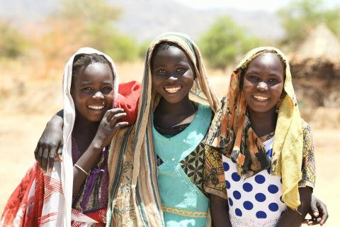 Happy girls in the village of Alibeit, in the South of Chad.