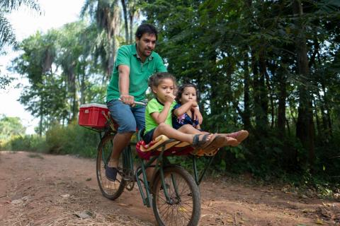 Rafael Alfonso Araujo with children, Selva and Amaru, Paraguay