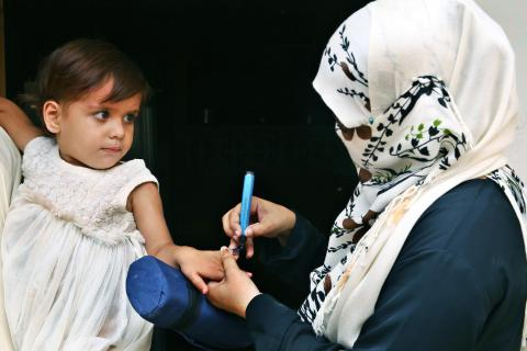 Polio vaccination at UC14 fasial cant Karachi.