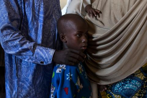 In Maiduguri, Nigeria, newly-reunited families receive care packages from UNICEF and partners in a transit center for women and children that had been held by the Nigerian military for questioning.