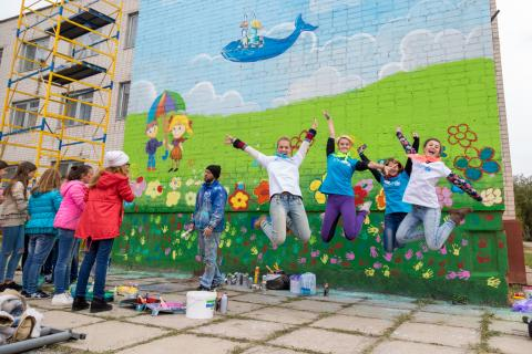 UNICEF Ukraine together with children created a mural in Siverodonetsk, Luhansk region, in the framework of EU's 'Children of Peace' programme.