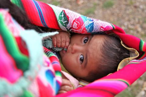 A baby boy, Daniel, travels in a brightly coloured sling pouch being carried by his mother, Melissa (not visible), on a road running between the town of Padilla, in the south-central department of Chuquisaca, and the city of Sucre, the country's capital.
