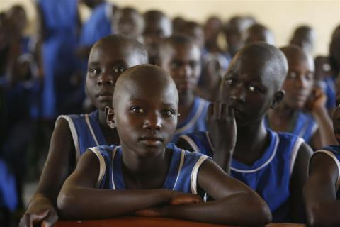 Girls attend class at Kangole Primary School in the north-eastern Moroto District.
