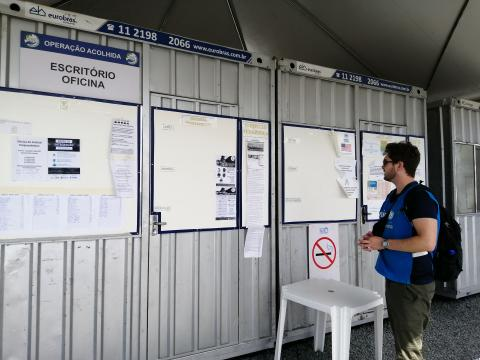 Information boards are common features in all the camps, providing advice and information on topics including health, timetable of camp activity.